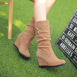 Womens Faux Suede Mid Calf Boots Wedge High Heels Pleated Slouch Boots Shoes UK