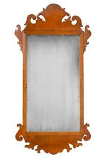 18th C. New England, Solid Tiger Maple Chippendale Mirror, Very Rare