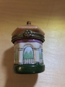 PORCELAIN HINGED VINTAGE GAZEBO TRINKET BOX • Hand Painted • Ornate •