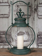 "Primitive new big 24"" high CROWN tin/glass floor candle lantern /nice"