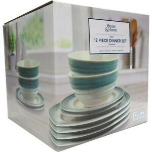 House & Home 12 Piece Reactive Ribbed Dinnerset- Blue
