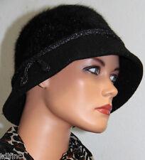 *NWT Nine West Black Rabbit Wool Blend Women's Clohe Hat $38 NEW DD064