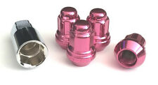 (4) 12x1.5 ACORN SPLINE LUG NUTS WHEELS RIMS LOCKS ANTI-THEFT W/KEY PINK