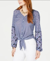 Style & Co Womens Top Folklore V-Neck Button Up Tie Front Blouse Blue White XL
