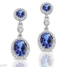Simulated Tanzanite Diamond Genuine Sterling Silver Dangle Earrings