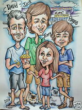 "Custom Caricature Art Hand Drawn 4 Person Activity 12 x 16"" Full Color"