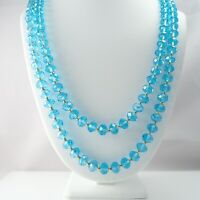 "Wow 56"" Turquoise Faceted Crystal Glass Gold Bead Continuous Flapper Necklace"