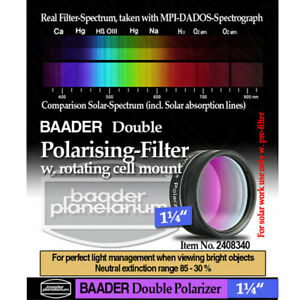 """Baader 1.25"""" Double Polarization Filter w/ Rotating Filter Cell FPOL-1D 2408340"""
