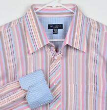 Ted Baker London Men's Sz 18-34/35 Flip Cuff Pink Blue Striped Dress Shirt