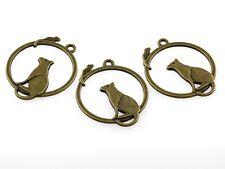 4 Anhänger Katze blickt auf Maus, rund in antik Bronze