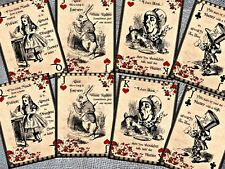 8 Alice in Wonderland Themed Playing Cards - Table Decorations,Tags,Toppers