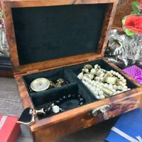 Keepsake Thuya Black velvet Lined jewelry box with key, wooden birthday gift box