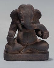 More details for ganesh - antique cham style vietnamese seated stone ganesha statue - 13cm/5