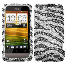 For Virgin Mobile HTC One V Crystal Diamond BLING Hard Case Phone Cover Zebra
