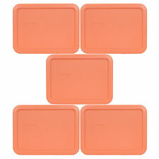Pyrex 7210-PC 3 Cup Rectangle Storage Lid 5 Pack Orange for Glass Bowl New