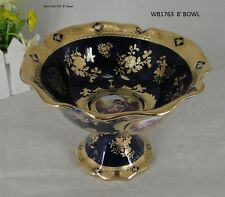 """Limoges Style Compote  Bowl   in Cobalt Blue & Gold Romance Design -8"""""""