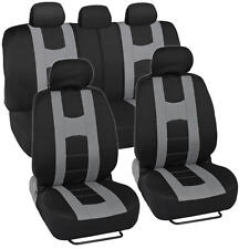 Rome Sport Seat Covers Set Front & Rear Full Interior Racing Stripes Black/Grey