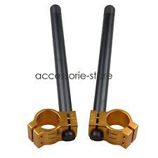 31MM CNC Clip Ons Fork Tube Handle Bars handlebars For Honda Kawasaki Black&Gold