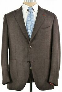 Isaia NWT Sport Coat Size 54 44R In Brown Gray Herringbone Wrap-Up Jacket