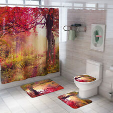 4Pcs Bathroom Shower Curtain Non-Slip Rug Cover Toilet Lid Bath Rug Mat Set