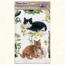 """FIDDLER'S ELBOW """"Mixed Kittens"""" K319 Cats Kitchen Towel~22″X32″~Cotton Pique~"""