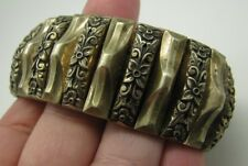 HARWOOD LEADING LADY Vintage EXPANSION BRACELET Art Deco AGED GOLD TONE Floral