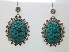 VINTAGE STYLE DANGLING EARRINGS TIBETAN SILVER FAUX TURQUOISE FLORAL CABOCHON