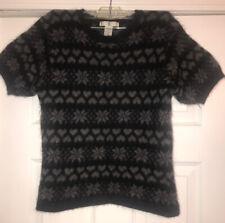 Vintage Rampage Snowflake & �� Grey And Black Angora40%,Lambswool 6% Sweater L