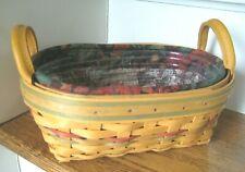 New Listing2001 Longaberger Oval Basket w/Leather Handles ~Protector & Liner~