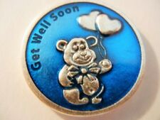 Get Well Soon Teddy Bear with Prayer Medal Token Blue Enamel New! MADE IN ITALY!