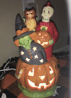 "Porcelain Halloween Electric Pumpkin Light 11"" Tall Lamp Cord With Switch Glazed"