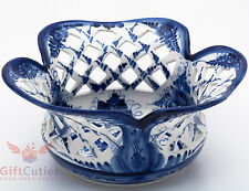 Gzhel Porcelain candy dish bowl basket Hand-painted Author's work