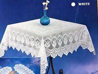 Spitzen Tischdecke häkelspitze Optik weiß Spitze Polyester 110x160 cm  Bestickt