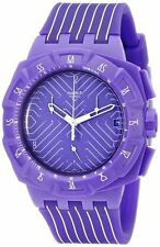 SWATCH CHRONOGRAPH DATE PURPLE DIAL SILICONE STRAP UNISEX WATCH SUIV401 NEW