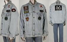 Vtg Levis Blue Faded Rock Metal Patches Biker Punk Denim Jean Jacket XL