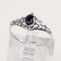 Sz 6.5, Vtg Sterling Silver Handmade Ring, 925 Band W Obsidian N Bali Beads
