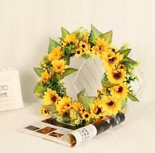 Artificial Sunflower Wreath Flower Leaf  for Wall Door Wedding Party Home Decor