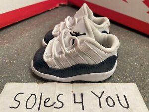 Nike Air Jordan 11 Retro Low Navy Snakeskin White Blue CD6849-102 Size 3c