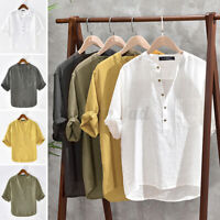INCERUN Men's Baggy T Shirt Cotton Hippy Shirts Short Sleeve Yoga Tops Blouse