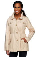Dennis Basso Water Resistant Floral Lined Anorak Jacket with Hood,Khaki, XS, $74