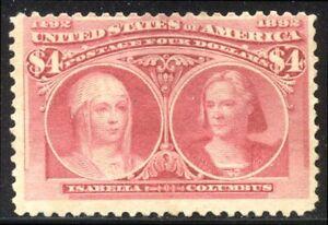 U.S. #244 Unused - 1893  $4.00 Columbian ($1,000)