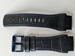 Invicta Watch Band Strap Black Leather for model 0748 Reserve Tonneau Vortiz