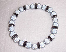 Silver Grey Miracle Bead Stretch Bracelet with Black Rondelles Handmade