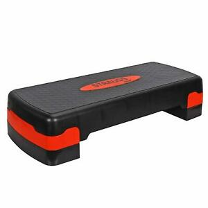 "Fitness Aerobic Step 27'' Adjust 4"" - 6"" Exercise Stepper w/Risers Home Gym Red"