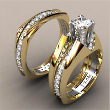 14K Solid Yellow Gold White Sapphire Ring Set Wedding Women Men's Jewelry Sz6-10