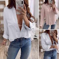 ZANZEA Women's Cotton Button Long Sleeve Shirts Casual Loose Office Tops Blouse