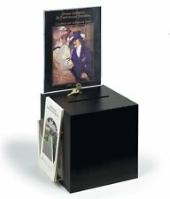 """Black Donation Ballot Box with Lock 8.5"""" x 11"""" Sign Holder with Tri Fold"""