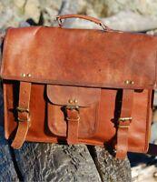 Men's Strong Laptop Briefcase Leather Vintage Brown Messenger Handmade Bag