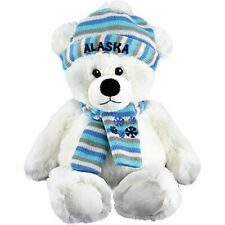 "13"" Plush Polar Bear w/Striped Hat & Scarf"