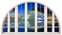 Huge 3D Arched Window Exotic Hotel Ciudad View Wall Stickers Mural Art Decal 220